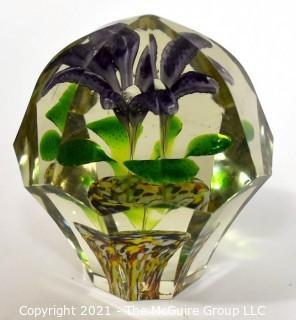 Vintage Murano Hand Blown Lampwork Glass Paperweight with Purple Iris.