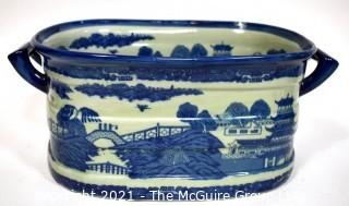 "Large Victoria Ware Blue & White Chinoiserie Ironstone Footbath or Jardiniere.  Measures 9"" x 11"" x 18""."