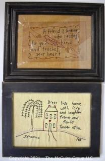 Two (2) Framed Antique Samplers