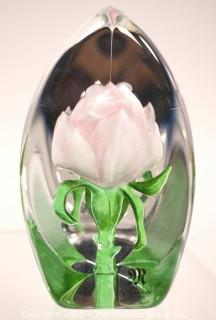 """Vintage Hand Blown Lampwork Glass Paperweight with Pink Flower Etched Signature on Base. Measures 3"""" in diameter and 4"""" tall."""