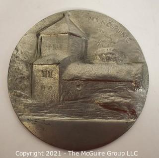 """Vintage Pewter Medal of Nyköping, Sweden. Stamped on Back """"Giselorer Nyköping F10 Tenn"""". Measures 3 1/2"""" in diameter."""