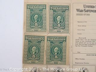 (4) 1918 Series U.S. Government $5 War Savings Stamps