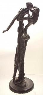 """Heavy Cast Bronze Statue of """"The Lovers"""" Signed by Artist.  Measures 15"""" tall and 7"""" wide."""