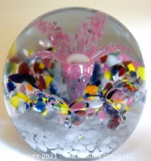 """Vintage Round Hand Blown Lampwork Glass Paperweight with Pink Flower. Measures 3"""" in diameter."""