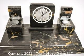 1930s Art Deco Black Veined Portoro Marble Italian Desk Set.