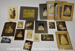 Group of Black and White Sepia Cabinet Cards and Photographs of Children.
