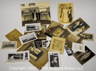 Group of Vintage Black & White Photos of Happy Families and Campers.  Includes Airstream Camper.