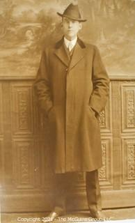 Unposted Real Photo Postcard of Gentleman with Hat, Name Written on Back.