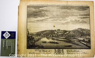 Antique Black & White Engraving of River View in England from Universal Magazine Published in the 1700's
