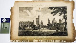 """Antique Black & White Engraving of New Chapel College in Oxford England.  Printed for the """"Modern Universal British Traveler"""" Magazine published between 1779-1790."""