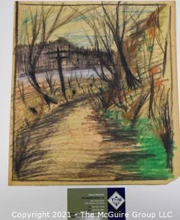 Unframed Pastel Landscape on Paper, Unsigned.
