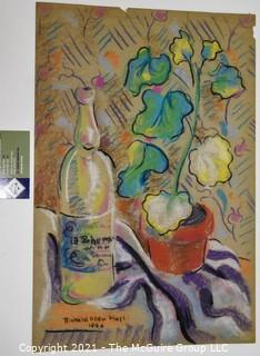 Pastel On Paper of Still Life Signed by Artist .