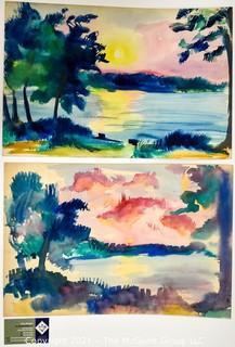Two (2) Unframed Water Color Tropical Beach Scenes on Paper.