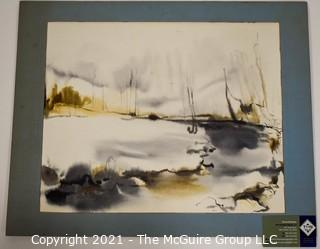 Original Unframed Mounted on Picture Board Watercolor of River Scene.