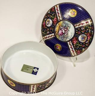 """Large French Round Hand Painted Limoges Porcelain Box; 12"""" diameter"""
