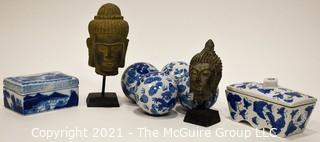 Group of Asian Decorative Items Including Blue & White Porcelain and Buddha Heads.