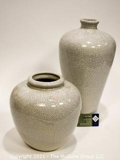 Two (2) Contemporary White Pottery Vase with Crazing.