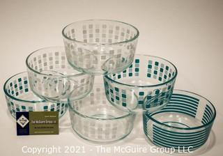 Six (6) Clear Glass with Polka Dot and Stripe Pyrex Bowls.