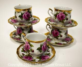 Set of Five (5) Norcrest Porcelain China Teacups and Saucers with Floral Decoration.