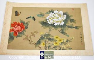 Vintage Asian Painting on Silk of Flowers with Chop Mark.