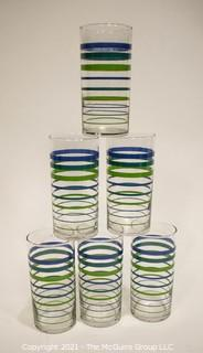 Set of Six (6) Vintage Striped Glass Tumblers.