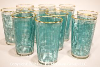 Group of (11) Vintage Glass Barware Tumblers with Blue Decoration.