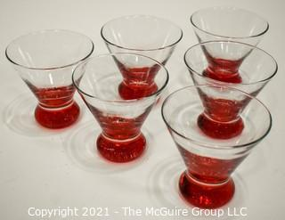 Set of Six (6) Hand Blown Martini Glasses with Round Base.