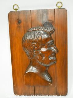 """Large Wooden Wall Plaque of Abraham Lincoln.  Measures 18"""" tall."""