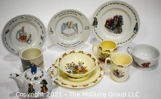 Collection of Porcelain Beatrix Potter Peter Rabbit Children's Dinnerware.  Includes Teapot.