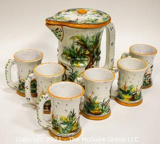 Set of Six (6) Hand Painted Pottery Cups and Pitcher Made in Spain.