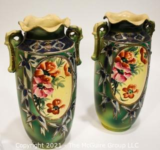 """Two (2) Vintage Asian Hand Painted Vases. Measure 13"""" tall."""