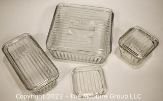 Set of Vintage Clear Anchor Hocking Refrigerator Containers.