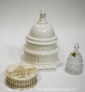 Three (3) U.S. Capitol Dome Decorative Items Including Waterford Crystal Bell, Canister and Box.