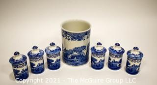 Spode Blue Willow Style Italian Canister Set.