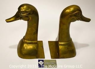 Pair of Heavy Brass Duck Bookends.