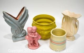Five (5) Vintage Mid Century Pottery Planters & Vases, Some McCoy.