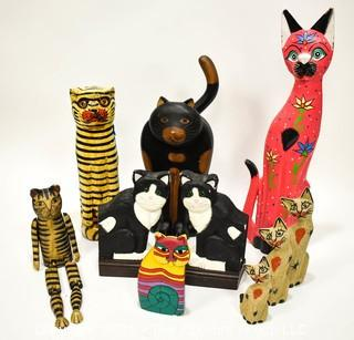Group of Ten (10) Folk Art Carved & Painted Cats.