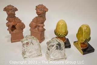 Three (3) Pair of Bookends.  Includes Foo Dogs, Acorns & Glass Horses.