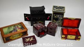 Assortment of Six (6) Asian Dresser or Jewely Boxes