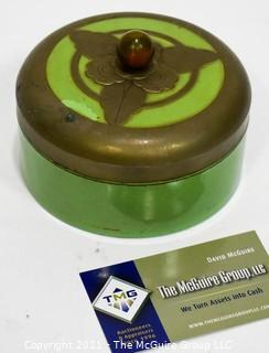 Art Deco Green Metal Vanity Jar or Powder Box with Leaf Appliques.