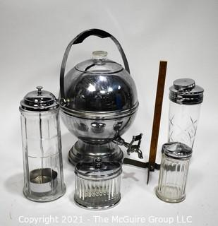 Group of Chrome & Glass Deco Style Serving Items.  Includes Round Coffee Server by La Belle Silver, Cocktail Shaker, Soda Fountain Straw Dispenser, Sugar Dispenser and Jar.