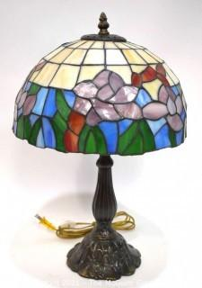 Domed Vintage Style Stained Glass Table Lamp