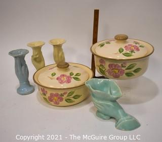 Group of Mid Century Pottery Items.  Includes Two (2) Franciscan Ware Casserole Dishes and Three (3) Bud Vases and One (1) McCoy Planter.