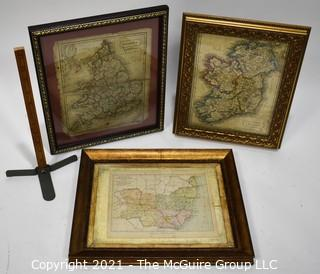 Three (3) Antique Framed Maps of Ireland, England and Suffolk County.