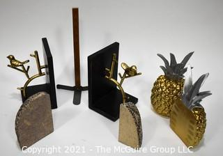 3 Sets of Bookends Including Pineapples