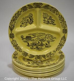 Set of Six (6) Bucks County Yellow Divided Dinner Plates by Royal (Sebring Ohio)