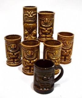 Set Of (6) Vintage Mid Century Orchids Of Hawaii Brown Tiki Mugs Or Tumblers. Barware.
