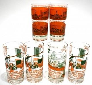 Six (6) Vintage Glass Tumblers Advertising Local Lumber Building Supply Company, Shippensburg, PA.   Barware