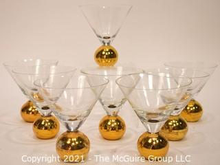 Set of Eight (8) Martini Glasses with Gilt Round Base.