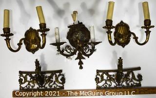 Five (5) Vintage Metal Wall Sconces and Decorative Trim.
